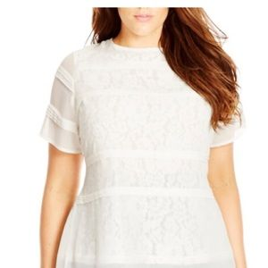 NWT City Chic Pintuck Lace Layer Top Plus Size 18